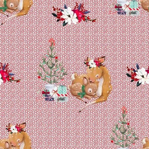 "8"" Mama and Baby Deer Christmas - Red Dots"