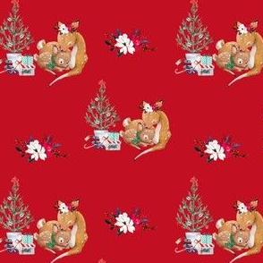 """4"""" Mama and Baby Deer Christmas - Red"""