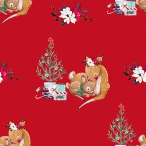 """8"""" Mama and Baby Deer Christmas - Red"""