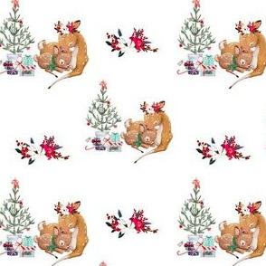 """4"""" Mama and Baby Deer Christmas - White"""