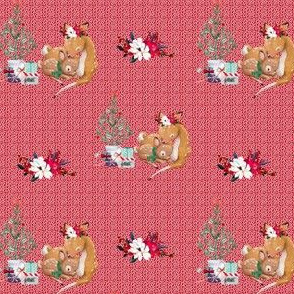 """4"""" Mama and Baby Deer Christmas - White Dots on Red"""
