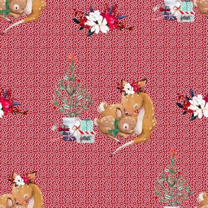 """8"""" Mama and Baby Deer Christmas - White Dots on Red"""