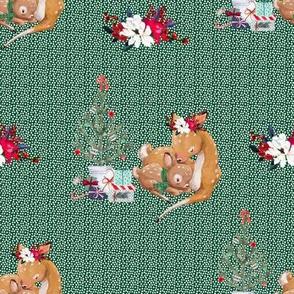 "8"" Mama and Baby Deer Christmas - White Dots on Green"