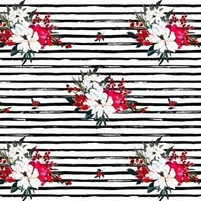 "4"" Red and White Christmas Flowers - Black Stripes"