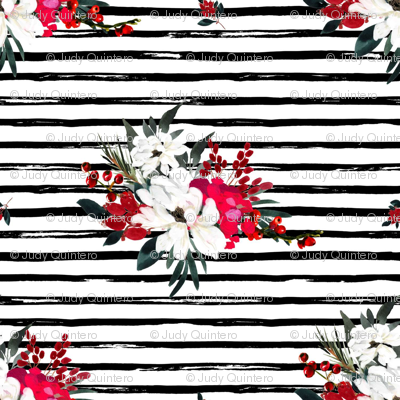 """8"""" Red and White Christmas Flowers - Black Stripes"""