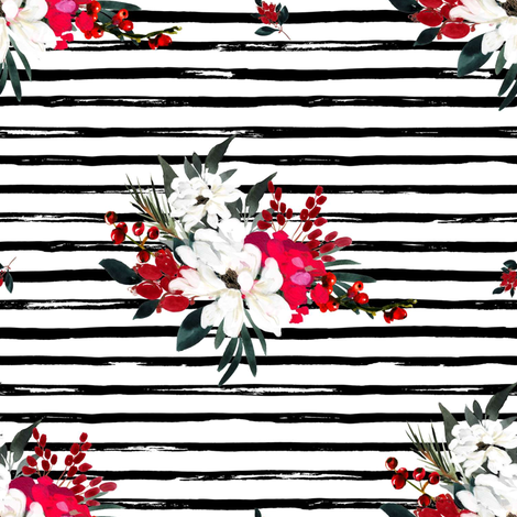 "8"" Red and White Christmas Flowers - Black Stripes fabric by shopcabin on Spoonflower - custom fabric"