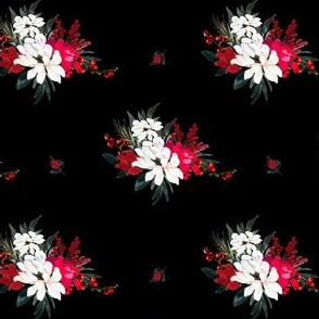 """4"""" Red and White Christmas Flowers - Black"""