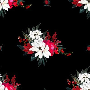 """8"""" Red and White Christmas Flowers - Black"""