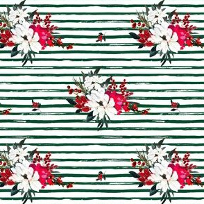 """4"""" Red and White Christmas Flowers - Green Stripes"""