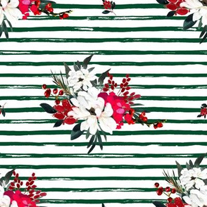 """8"""" Red and White Christmas Flowers - Green Stripes"""