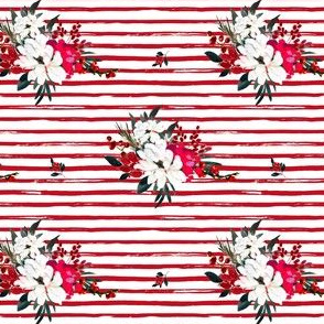 "4"" Red and White Christmas Flowers - Red Stripes"