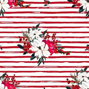 "8"" Red and White Christmas Flowers - Red Stripes"
