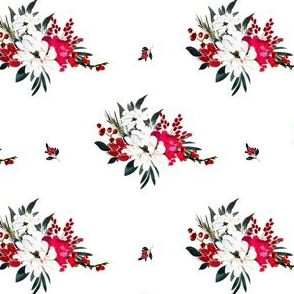 """4"""" Red and White Christmas Flowers - White"""