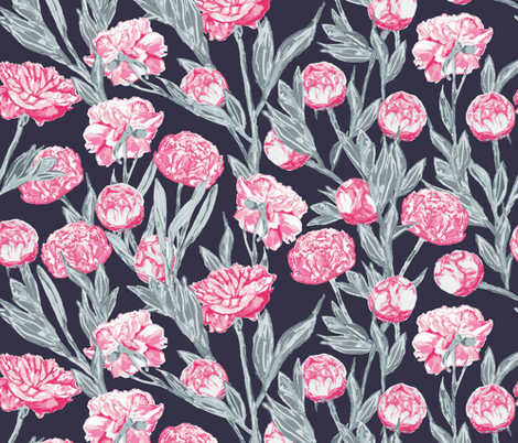 Peonies Fuchsia Blue on Navy fabric by gingercreations on Spoonflower - custom fabric