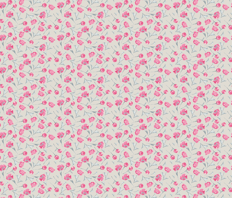Single Peonies Scatter Fuchsia Blue on Wheat fabric by gingercreations on Spoonflower - custom fabric