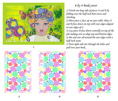 4 by 6 bookcover - Butterfly Girl fabric by the_hoarder's_art_room on Spoonflower - custom fabric