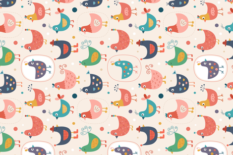Poules fabric by la_fabriken on Spoonflower - custom fabric