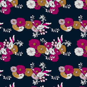Time Warp Happy Daisys, Pink Gold Navy White Floral