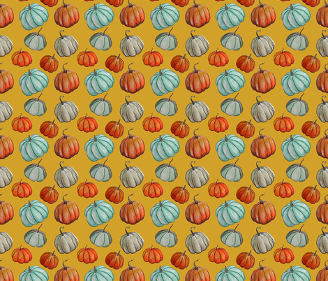Autumn Pumpkin Patch // Mustard fabric by theartwerks on Spoonflower - custom fabric