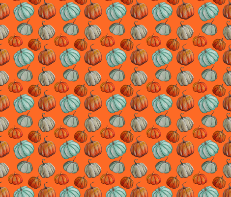 Autumn Pumpkin Patch // Orange fabric by theartwerks on Spoonflower - custom fabric