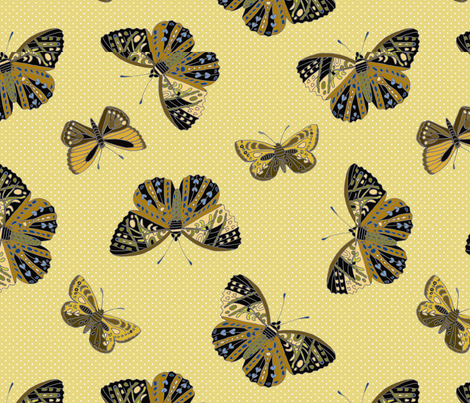 butterflies are free yellow 092518 fabric by monarch_design_studio on Spoonflower - custom fabric