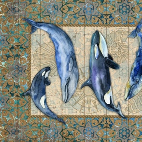 Tea Towel - Whales