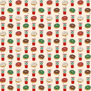 SMALL - Donuts and coffee christmas cream fabric holiday themed patterns for sewing clothing and home