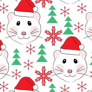 santa hamsters snowflakes and trees