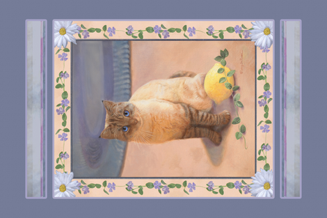 Panel of Welcomed Home By A Cat fabric by nancy_lee_moran_designs on Spoonflower - custom fabric