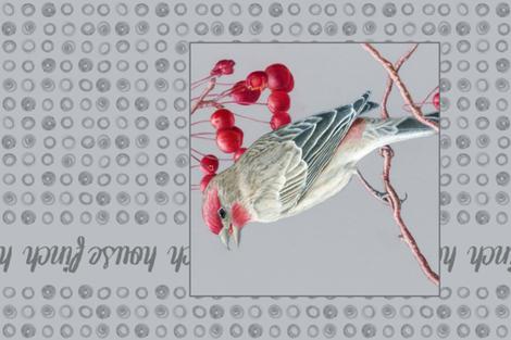 House Finch Tea Towel fabric by chubbellart on Spoonflower - custom fabric