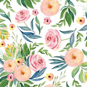 Pink and Peach Sherbert Florals // White