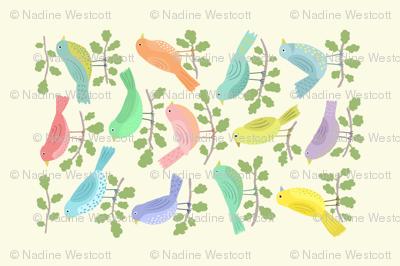 BIRDS OF A FEATHER tea towel