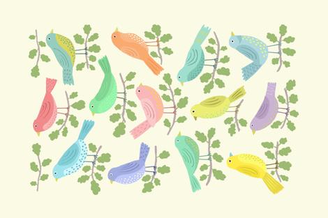 BIRDS OF A FEATHER tea towel fabric by nadinewestcott on Spoonflower - custom fabric