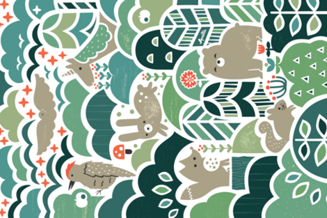 Fall Forest Friends fabric by studio_amelie on Spoonflower - custom fabric