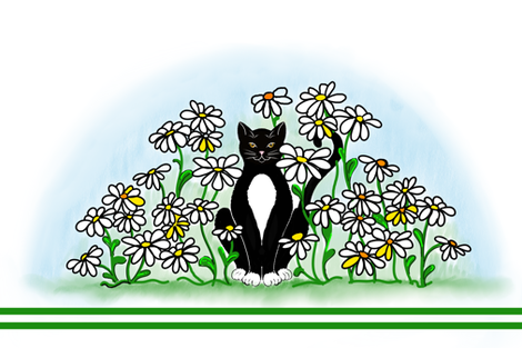 Hiding among the daisies fabric by gcatmash on Spoonflower - custom fabric