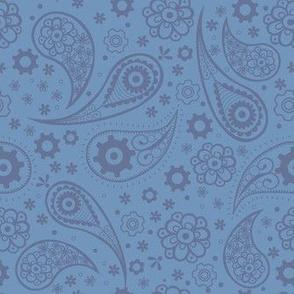 Paisley Steampunk Flowers Blue