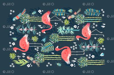 Painted Flamingoes Tea Towel