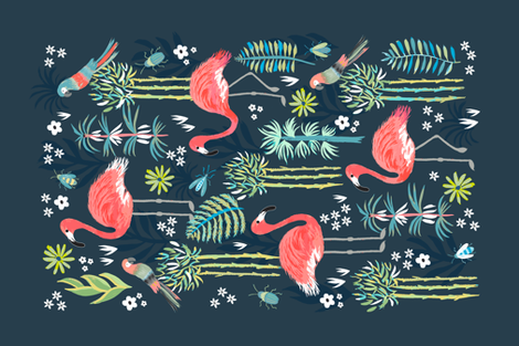 Painted Flamingoes Tea Towel fabric by jill_o_connor on Spoonflower - custom fabric