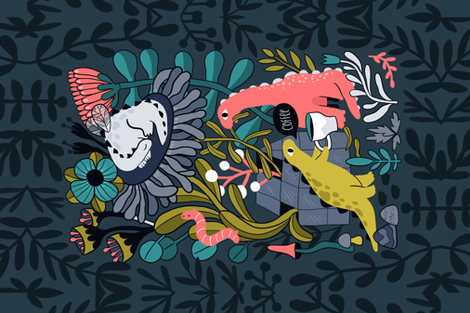 Dinobugs in the garden drinking coffee eating leaves fabric by kostolom3000 on Spoonflower - custom fabric