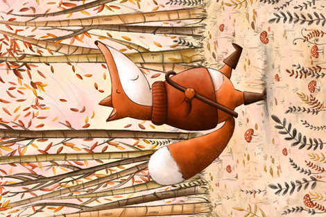 Mr Fox in the Fall  fabric by aishwaryaillustrates on Spoonflower - custom fabric