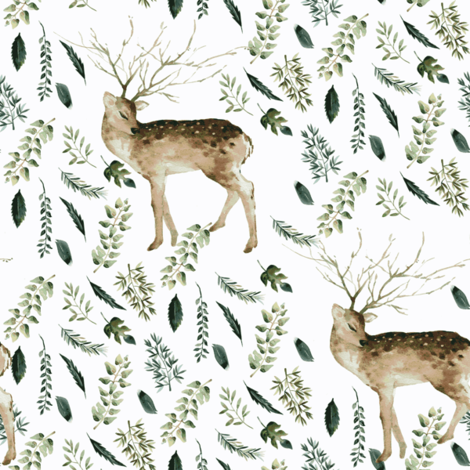 """8"""" Farmhouse Deer Forest // Lilac White fabric by hipkiddesigns on Spoonflower - custom fabric"""