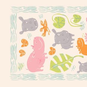 Hippos Tea Towel