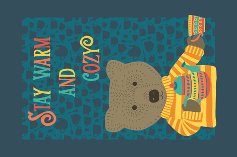 Stay warm and Cozy Tea Towel - cute bear serving tea fabric by sandra_hutter_designs on Spoonflower - custom fabric
