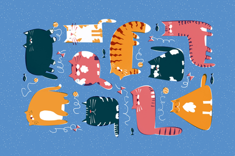 Playful cats fabric by daria_nokso on Spoonflower - custom fabric