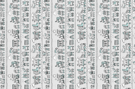 Sketchbook Train of Circus Animals fabric by justdani on Spoonflower - custom fabric
