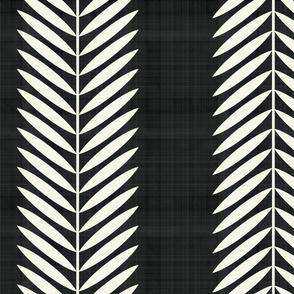 Laurel Leaf Stripe cream on black
