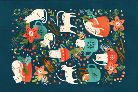 Spicy Kittens tea towel fabric by lidiebug on Spoonflower - custom fabric