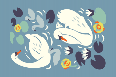 Swan family fabric by solnca_lych on Spoonflower - custom fabric