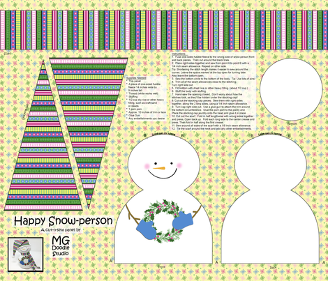 Happy Snow-Person Cut & Sew fabric by mgdoodlestudio on Spoonflower - custom fabric