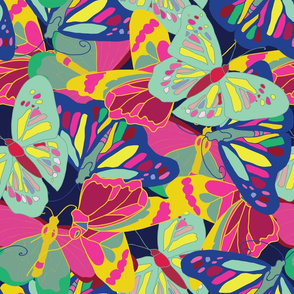 Big colorful butterflies pattern